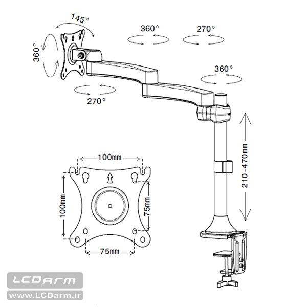 پایه رومیزی مانیتور LED/LCD مدل LD-410B لیست قیمت خرید پایه نگهدارنده مانیتور کامپیوتر روی میز تولید کننده پایه رومیزی