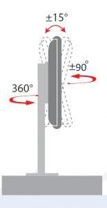 - زاویه چرخش بازوهای پایه چند مفصلی مانیتور LD-410
