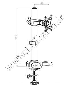 - سایز بازوهای پایه چند مفصلی مانیتور LD-410