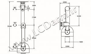 - سایز بازوهای پایه رومیزی مانیتور مدل LD-G