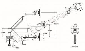 -سایز بازوها و زاویه چرخش پایه مانیور LD-G