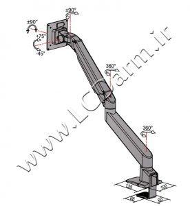 - زاویه های چرخش پایه رومیزی مانیتور مدل LDG-515