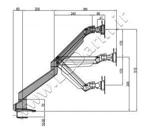 - سایز بازوهای پایه رومیزی مانیتور LDG-515