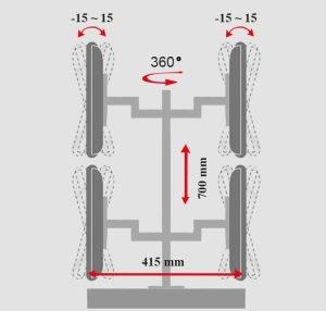 - زاویه چرخش بازوهای پایه چند مفصلی مانیتور LD-4S