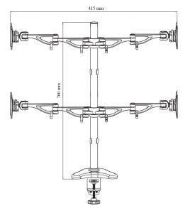 - سایز بازوهای پایه چند مفصلی مانیتور LD-4S