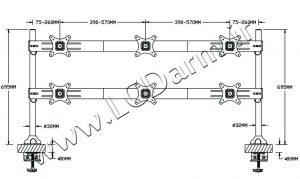 - مشخصات سایز بازوهای پایه چند مفصلی مانیتور LD-A6
