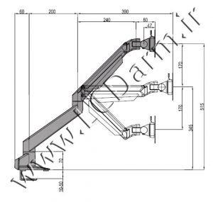 - سایز بازوهای پایه مانیتور چند مفصلی LDG-515D