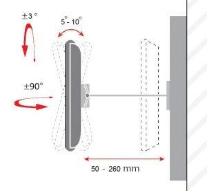 مشخصات فاصله و چرخش پایه دیواری تلویزیون TWM-260