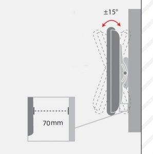 -فاصله و درجه چرخش پایه دیواری تلویزیون TW-305